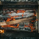wood burning in Pyro camp fire cooktop grill