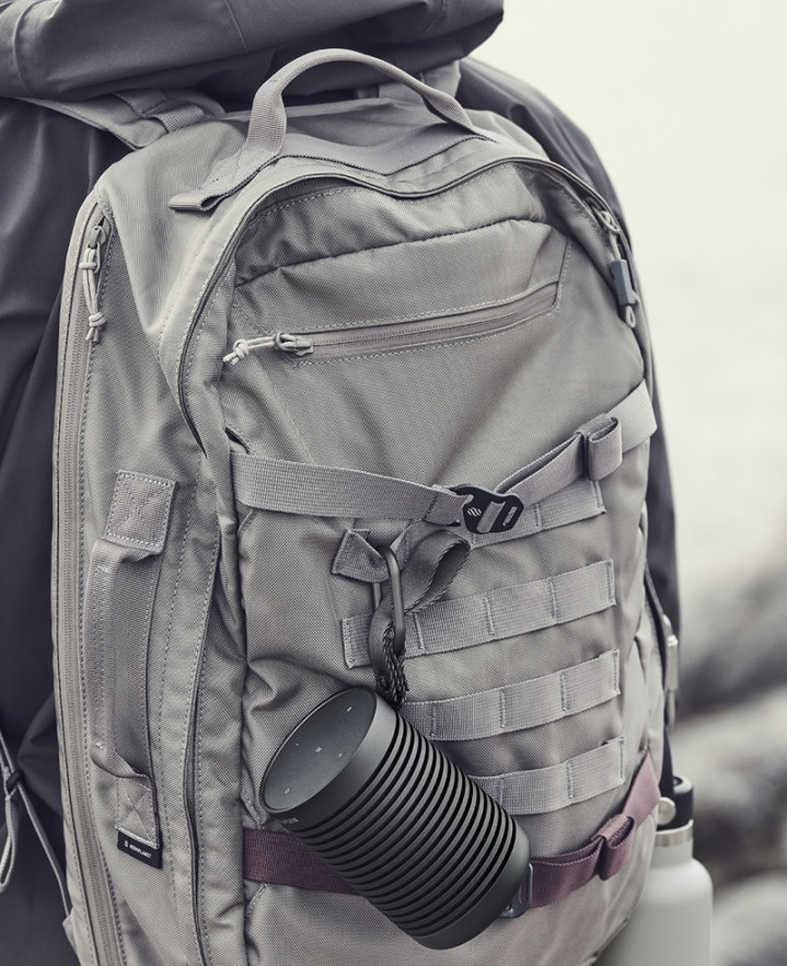 Beosound Explore Speaker attached to the backpack
